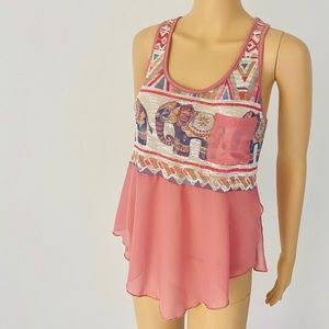 Tops - Vintage Knit/Sheer Elephant Flow Top  SMALL